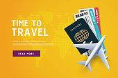 Time to travel. Vacation trip offer concept with passport, ticket, airplane. Travel banner template.