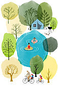 Summer landscape with lake and people. Watercolor and vector flat