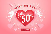 Valentine's day sale banner design template. 50% off discount promotion sale banner.