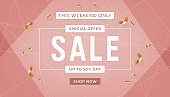 Fashion sale banner design background with gold ribbon promo offer text. Abstract banner template design on pink background.