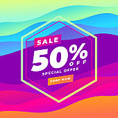 50 percent Discount sale Colorful abstract curve banner. Trend gradient. Fluid shapes composition.