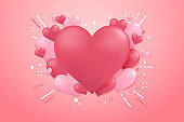 Heart shape balloon background for Valentines or wedding day.