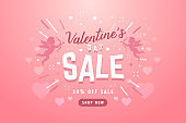 Valentines day sale banner with cupid for campaign, online shop.