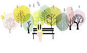Watercolor vector spring background.