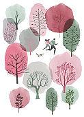 Watercolor vector spring background.