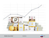 Growth graph with bundles of 100 Russian Ruble Banknotes and coins. Flat style vector illustration. Growth of financial and economy concept.