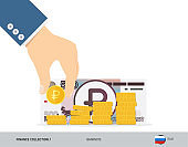 Hand putting coin to coins stack with 1000 Russian Ruble Banknote. Flat style vector illustration. Growing graph. Finance concept.