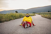 Overweight man resting after exercising