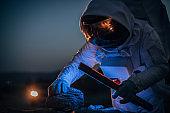 Cosmonaut on mission on Mars