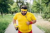 Man running to lose weight