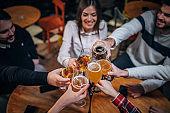 Celebration toast in pub