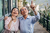 Charming senior couple standing on balcony at home