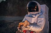 Man exploring Mars alone