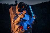 Cosmonaut exploring on Mars