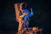 Cosmonaut on a mission on Mars