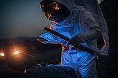 Astronaut exploring on Mars