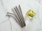 Metal recyclable drinking straws, flat lay