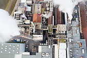 Paper Mill, Smoke from Chimneys, Aerial View