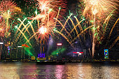 New Year's Eve in Victoria Harbor in Hong Kong