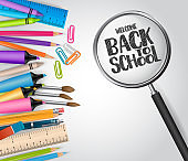 Welcome back to school concept with study supplies - notebook, markers, pencils, ruler, pen, eraser. Realistic vector illustration.