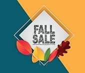 Autumn banner design concept. Fall sale promo template on bue and yellow background. Vector illustration.