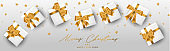 Merry Christmas and a Happy New Year banner or header. Simple luxurious elegant design with golden stars, gift box -  presents. Winter holidays concept. Vector illustration.
