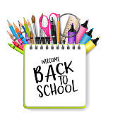 Welcome back to school background with a ring notebook and typography text. A pile of pencils, pens, scissors, markets, highlighters, spy glass, ruler, brushes and other supplies. Education concept template. Vector illustration.