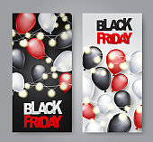 Black Friday  vertical banner design template. Big sale advertising promo concept with balloons, glowing garland and typography text. Vector illustration.