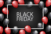 Black Friday banner design template. Big sale advertising promo concept with balloons and typography text in a frame. Vector illustration.