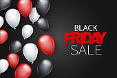 Black Friday Sale banner design template. Big sale advertising promo concept with balloons and typography text. Vector illustration.