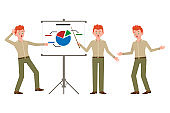 Surprised, shocked, red hair office boy in green pants vector illustration. Pointing finger, showing report of bad statistics man cartoon character set on white background