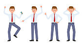 Young office manager in formal wear angry, stressed, desperate. Cartoon character design of shouting, pointing finger, unhappy man emotions concept - Vector