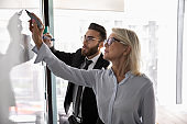 Mature businesswoman training employee, drawing on flip chart