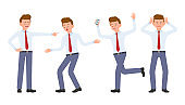 Young office worker in formal wear shouting, pointing finger, surprised, upset, shocked. Cartoon character design of stressed man at work concept - Vector
