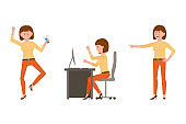 Nervous, aggressive, brown hair office worker in orange pants vector illustration. Pointing finger, angry at table woman cartoon character set on white background