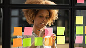 African woman writing down on sticky notes view through glass
