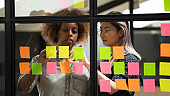 Diverse business women writing plan and ideas using sticky notes