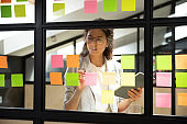 Businesswoman creates priority to-do list on sticky notes