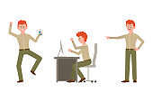 Nervous, aggressive, red hair office worker in green pants vector illustration. Pointing finger, angry at table man cartoon character set on white background