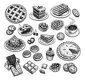 Ink sketch of desserts.