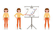 Happy, smiling, brown hair young office worker woman in orange pants vector illustration. Standing front view, making presentation female cartoon character set on white background