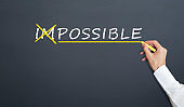 The concept of converting the word impossible to possible. handwriting on blackboard with chalk