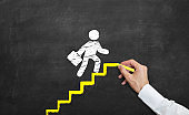 Concept of promotion and success in business life. man drawing yellow stairs