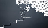 stickman comlete puzzle on the stairs.