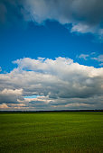 Sky and clouds and green field in the countryside, landscape.