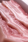 Close up of raw pork belly meat slices