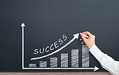 man is drawing success graph on chalkboard. success concept