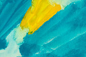 Turquoise and yellow watercolor texture background. Hand drawn Lemon and blue smears, splashes abstract backdrop.