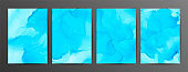 Light blue ink vector textures backgrounds set. Paint mixing, fluid art.