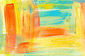 Yellow, orange and blue hand drawn acrylic painting. Chaotic decorative expressionist artwork.